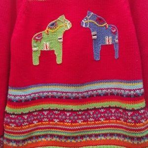 Hanna Andersson Holiday Dala Horse Sweater 130/ 8